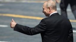 Президент России Владимир Путин на параде, посвященном 75-й годовщине победы в Великой Отечественной войне, во время эпидемии коронавируса в Москве 24 июня 2020 года. Фото: Reuters