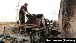 Остов пикапа, стоявшего на вооружении армии Халифы Хафтара