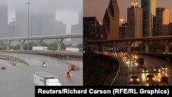 Шоссе 45 в Хьюстоне США до (справа) и после (слева) урагана Харви
