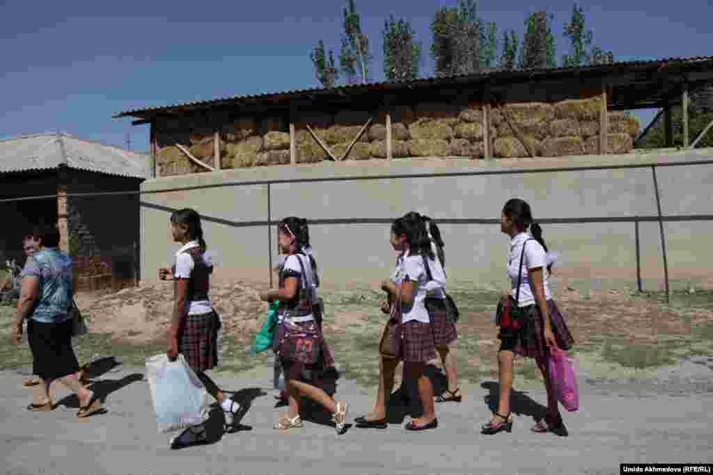 Школьницы Бостанлыкского района идут за учителем. Ташкентская область, 9 сентября 2015 года