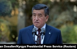 Kyrgyzstan's President Sooronbai Jeenbekov speaks in Bishkek after the country's October 4, 2020 parliamentary elections.