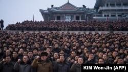 Массовая демонстрация в поддержку новогоднего обращения Ким Чен Ына. 4 января 2018 года
