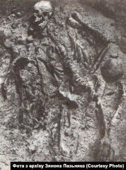 Скелет человека, найденный на раскопках в урочище Куропаты. Фото из архива Зенона Позняка