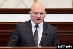 Belarusian KGB Chairman Ivan Tertel addresses Belarus' parliament on May 26, 2021.
