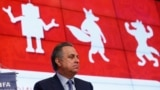 Russia -- Chairman of the Russia 2018 LOC and Russia Sport Minister Vitaly Mutko makes a speech during a press conference on the 2018 FIFA World Cup Russia Local Organizing Committee in Moscow, April 29, 2015