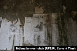Copies of the Pravda newspaper on the wall in abandoned apartments near the Soviet base at Ralsko