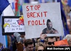 Марш в Лондоне 19 октября 2019 года. Фото: AP