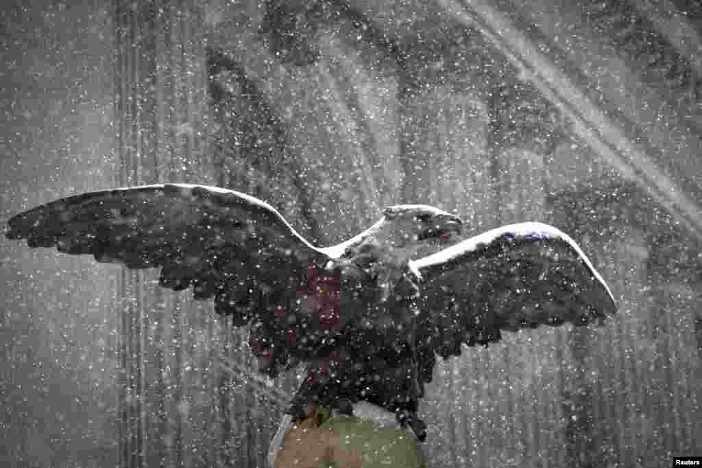 Статуя орла прикрытая снегом. Центральный вокзал Нью-Йорка