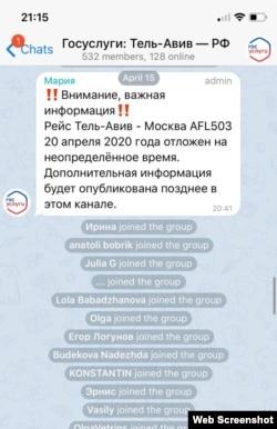 Скриншот из официального Телеграм-канала для россиян, кто не может вернуться на родину