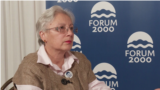 Leyla Yunus speaks to Currenttime.tv during Forum 2000 in Prague in October 2018