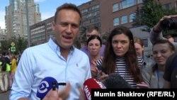 Алексей Навальный на протестной акции в Москве