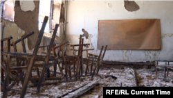 The ruins of a school in Kyrgyzstan's Batken region after an attack during the April 28-April 29, 2021 fighting with Tajikistan over a water canal and pumping station
