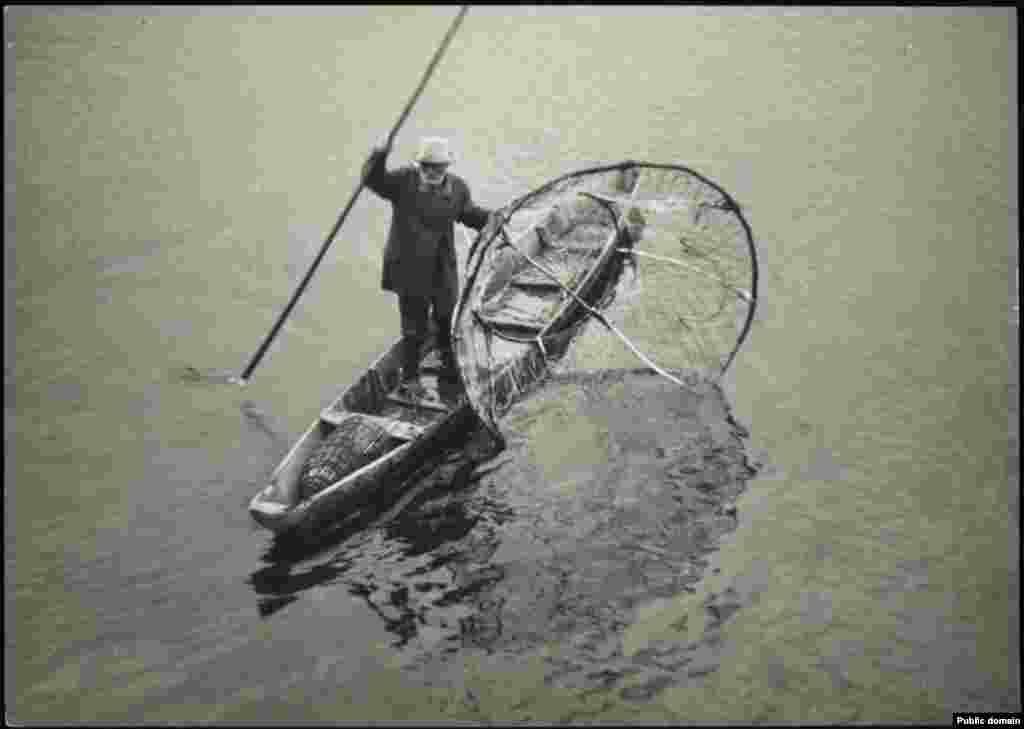 Рыбак ловит рыбу бреднем в реке Пине