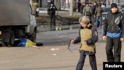 Место взрыва в Харькове 22 февраля