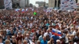 Russia. Moscow. During a rally in honor of Russian Flag Day on Sakharov Avenue