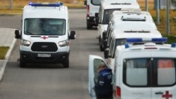 Moscow, Russia - Ambulances are seen outside a hospital for patients infected with the coronavirus disease (COVID-19) on the outskirts