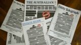 "Front pages of major Australian newspapers show a 'Your right to know"" campaign, in Canberra"