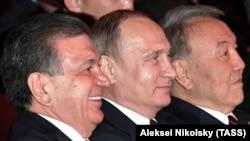Президенты Узбекистана, России и Казахстана на встрече ШОС в Астане