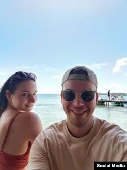 Антон Глембо с женой. Фото: личная страница в фейсбуке