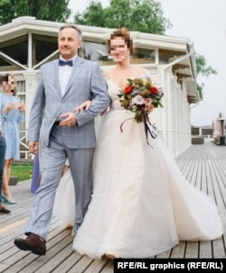 Андрей Аверьянов ведет свою дочь под венец на свадьбе, гостем которой был Анатолий Чепига с семьей