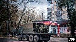 Зенитная установка, предположительно прибывщая в Донецк 2-го ноября