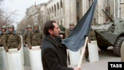A Baku street on January 22, 1990