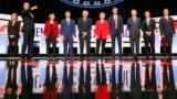 Detroit, Michigan - Democratic 2020 U.S. presidential candidates (L-R) author Marianne Williamson, U.S., Rep. Tim Ryan, U.S. Senator Amy Klobuchar, South Bend Mayor Pete Buttigieg, U.S. Senator Bernie Sanders, U.S. Senator Elizabeth Warren, former U.S. Re