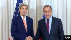 Джон Керри и Сергей Лавров на встрече 26 августа