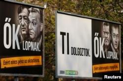 """Плакаты партии """"Йоббик"""", обвиняющие Орбана в воровстве, размещены на рекламных площадях, принадлежащих Лайошу Шимечке"""