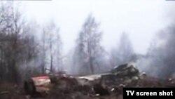 Место крушения самолета президента Польши под Смоленском