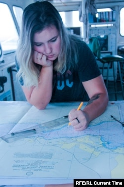 Elena Gudz plots a navigation course. Photo: Elena Gudz archive