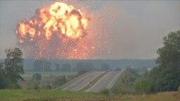 Ukraine - Explosions at a military ammunition depot near Kalynivka, central Ukraine - Reuters - screen grab - explosion blast