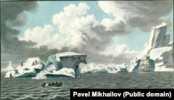 Пингвины на льдине около берегов Антарктики