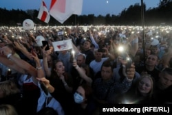 At a campaign rally for presidential candidate Svyatlana Tsikhanouskaya in Minsk on July 30, 2020, supporters use their phone flashlights to signal their desire for political change.