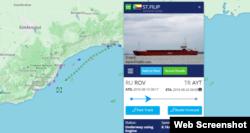 Скриншот системы MarineTraffic: сухогруз St. Filip под флагом Коморских островов следует из Судака в Анталью