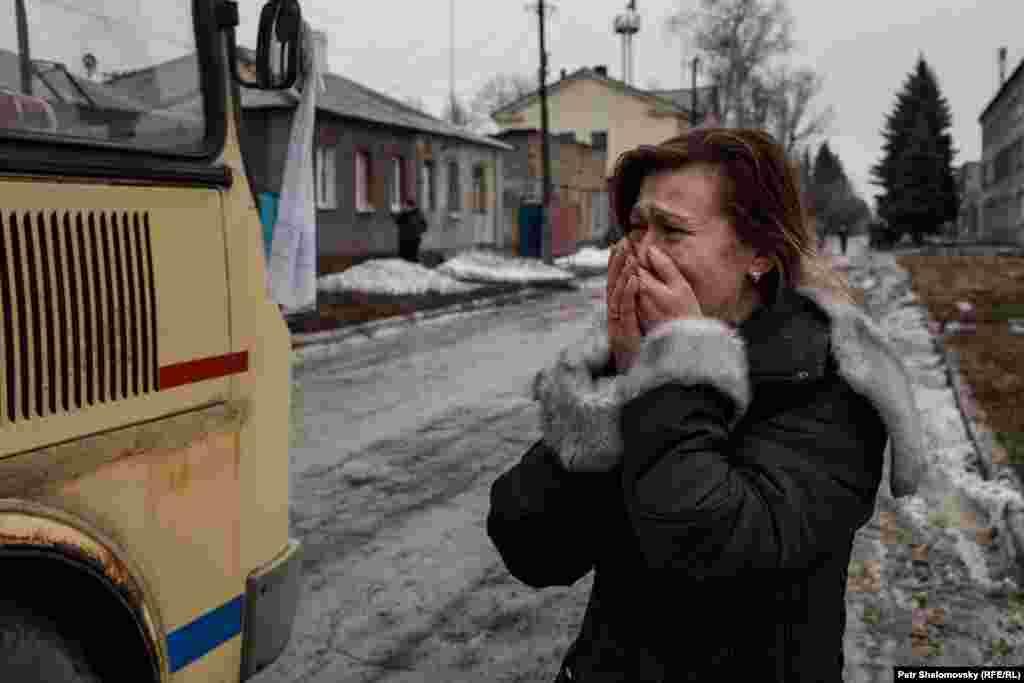 Эвакуация жителей из Дебальцево, Донецкая область Украины. 3 февраля 2015