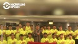 Таджикские футболисты-юниоры славят президента Рахмона