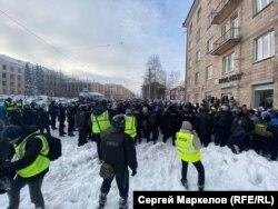 Акция протеста в Петрозаводске 31 января 2021 года