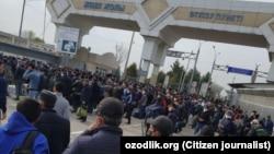 Пост на границе Узбекистана и Казахстана