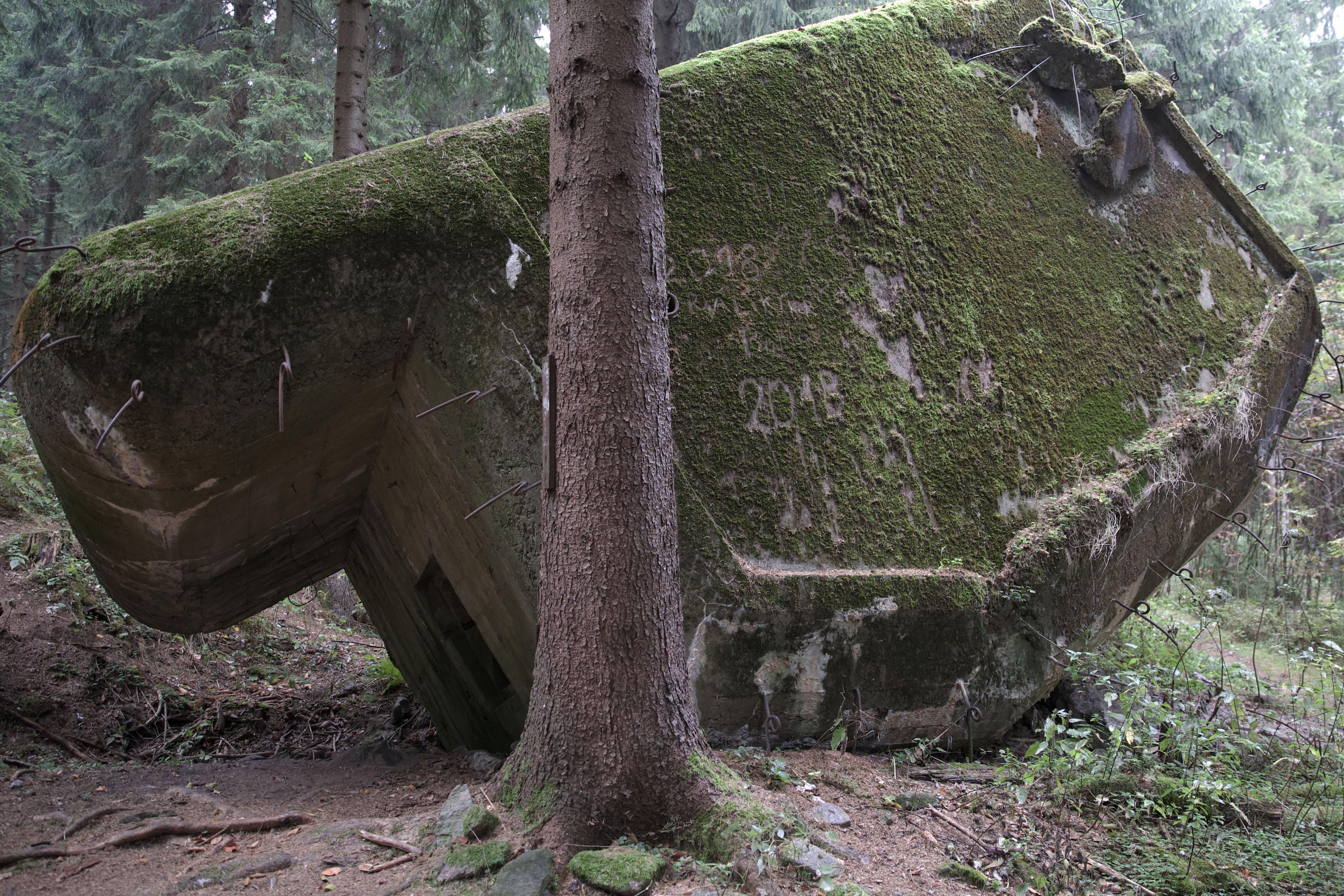 Ржопик, поврежденный крупнокалиберным снарядом. Чешские оборонительные сооружения использовались после захвата Судет как испытательный полигон немецкой артиллерии