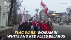 Flag Wars: Woman In White And Red Flees Belarus
