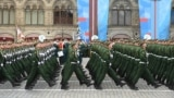 RUSSIA - Russian servicemen march along Red Square during the Victory Day military parade in Moscow on May 9, 2021.