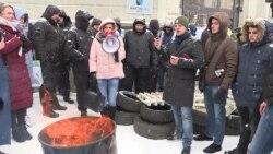 В Киеве протестовали замерзшие граждане