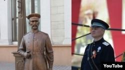 Министр внутренних дел Беларуси Игорь Шуневич в форме НКВД и скульптура городового в Минске