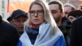 RUSSIA -- Russian opposition figure Lyubov Sobol takes part in a rally to mark the 5th anniversary of opposition politician Boris Nemtsov's murder and to protest against proposed amendments to the country's constitution, in Moscow, Russia February 29, 20