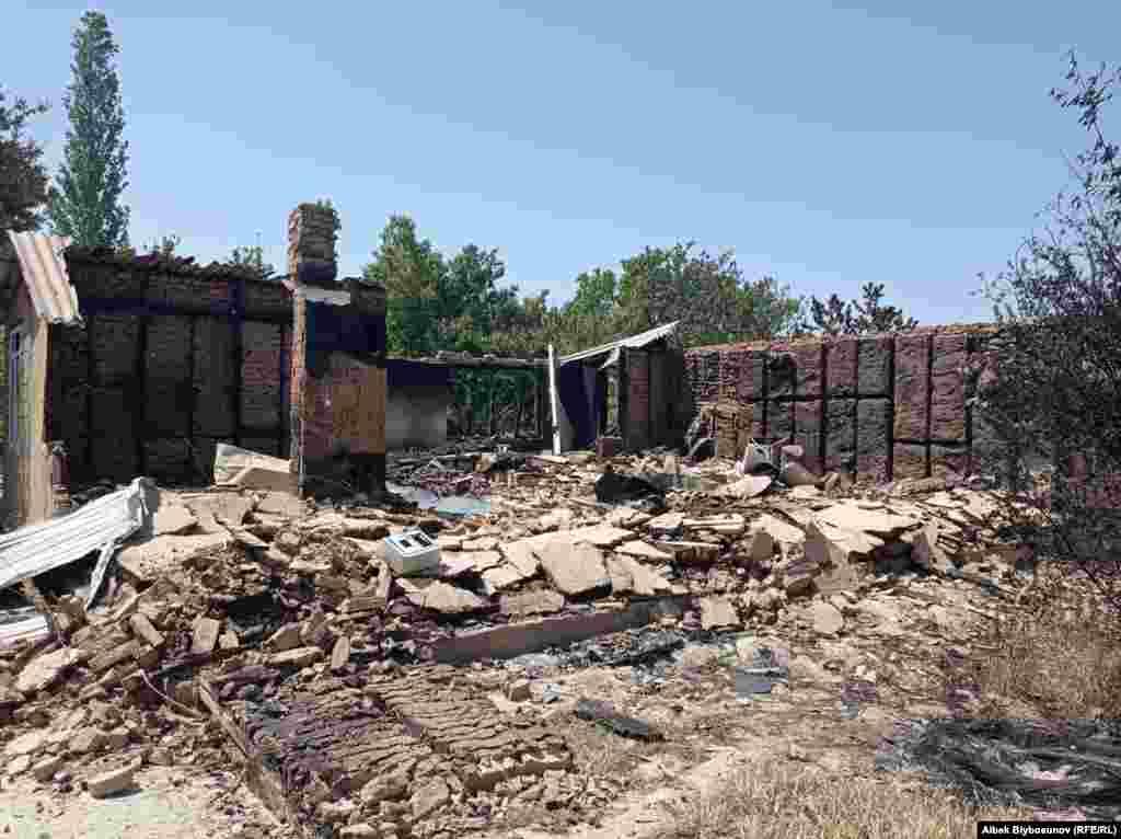 Разрушения в селе Максат в Кыргызстане. По данным МЧС Кыргызстана, в результате обстрелов в селе, где живут 150 человек, пострадало 11 жилых домов