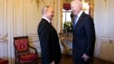 SWITZERLAND -- Russian president Vladimir Putin, left, talks with U.S. President Joe Biden, right, during the U.S. - Russia summit in Geneva, June 16, 2021