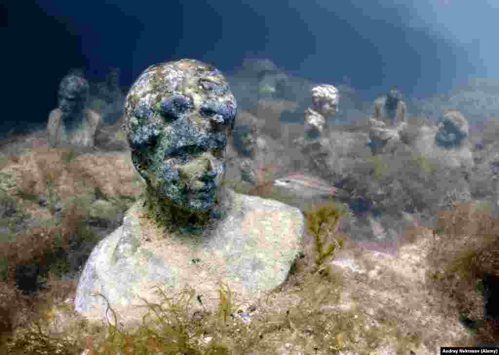 Монументы находятся на глубине 12-15 метров примерно в 100 метрах от мыса Тарханкут