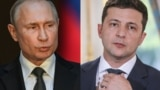 COMBO -- (COMBO) This combination of pictures created on July 11, 2019 shows Russian President Vladimir Putin (Left) speaking during a press conference at palazzo Chigi in Rome on July 4, 2019. And Ukraine's President Volodymyr Zelenskiy during a press co