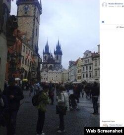 """Фото Праги, опубликованное """"Русланом Бошировым"""" в фейсбуке 11 октября 2014 года, в день, когда, по данным чешской полиции, он прилетел в город из России / bellingcat.com"""